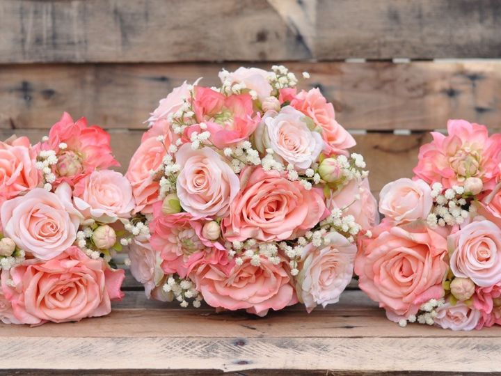 Tmx 1454788362817 Coral Peach Baby Breath Bouquet Set   1 Wayne wedding florist