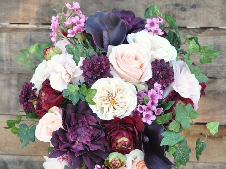 Tmx 1454788442013 Burgundy Eggplant Dahlia And Blush Cascade Bouquet Wayne wedding florist