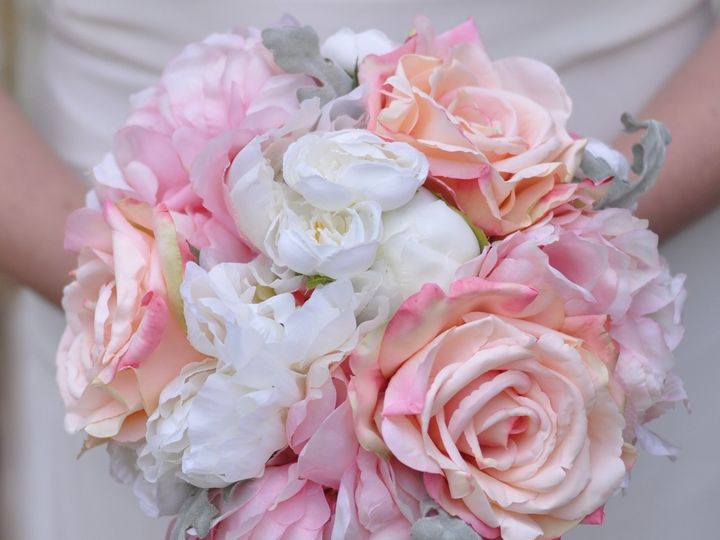 Tmx 1454790196916 Blush Pink Peony Rose And Dusty Miller Bouqeut2    Wayne wedding florist