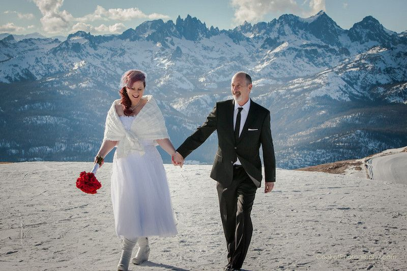 Newlyweds in the mountains