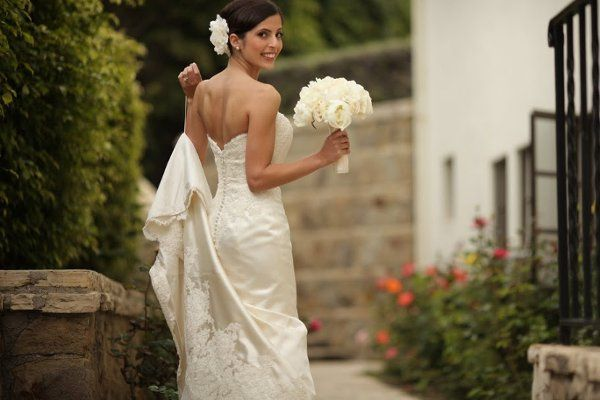 Bride's dress and bouquet