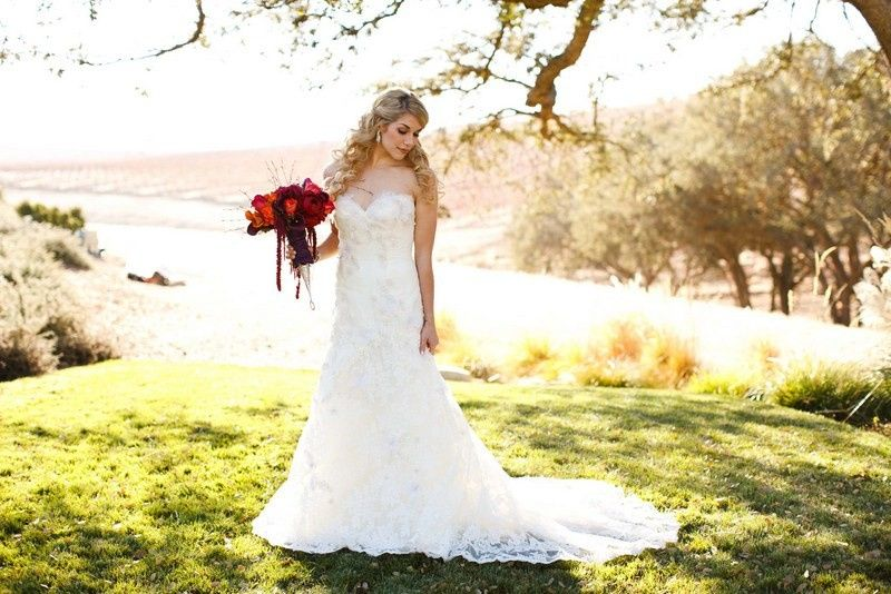 Long gown and bouquet