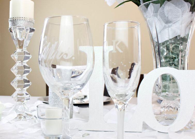 Newlyweds toasting glasses