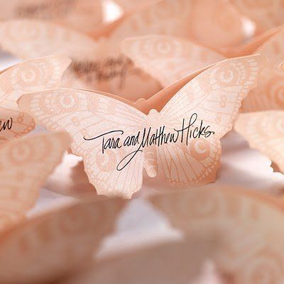 Blush Butterfly Table Cards from the new Checkerboard Unveiled Collection, featured in Suite #3,...