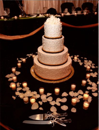 Cake surrounded by candles and petals