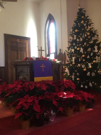 Chirstmas decorated sanctuary