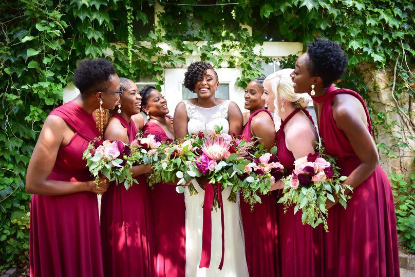 Rustic chic outdoor wedding bridesmaid scene