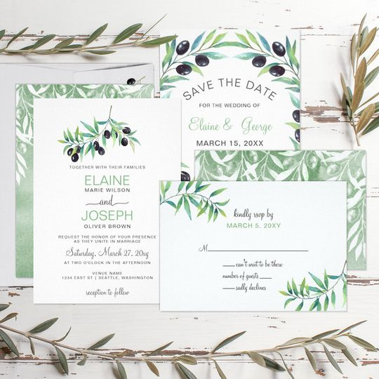 olive branch wedding invitations set