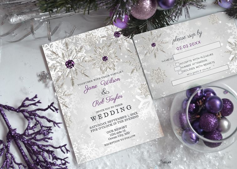 Silver Purple Snowflakes Wedding Invitations