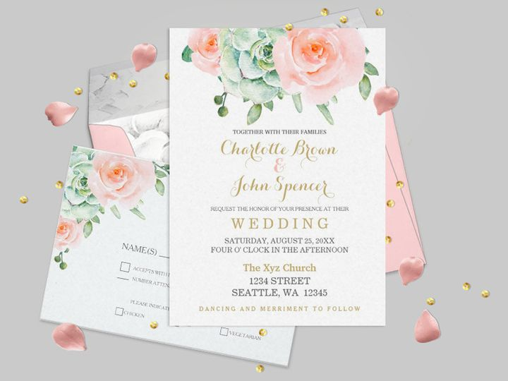 Succulents and Plum Roses  Wedding invitations Set