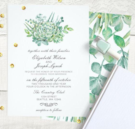 Succulent Rose Wedding invitations set