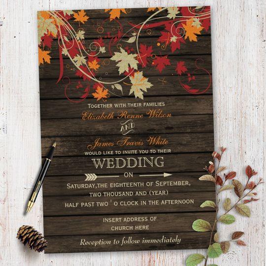 Barn Wood Fall Leaves Wedding invitations