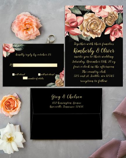 Marsala Black Floral Wedding Invitation Invitations Set