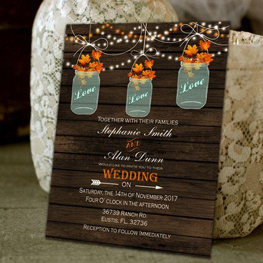 Rustic Barn Wood Mason Jars Country Wedding Invitations