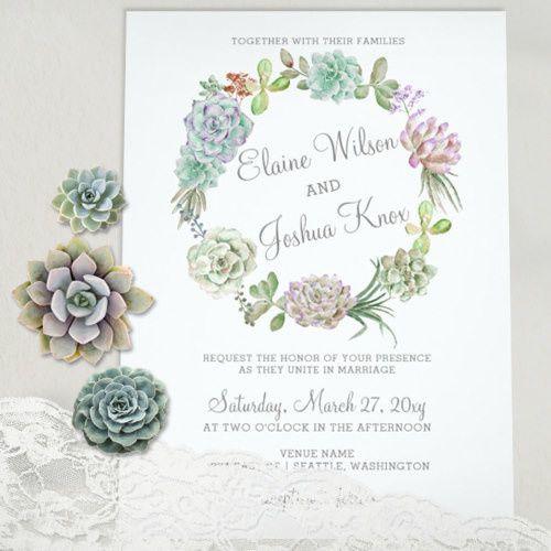Succulents Wreath Wedding Invitations Set