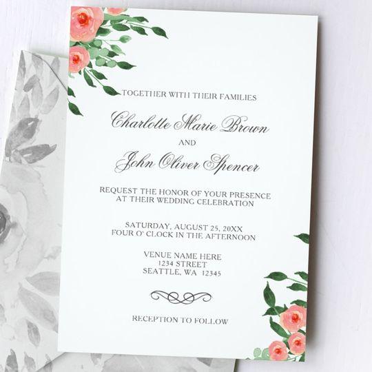 Simple Elegant Blush Floral Wedding invitations