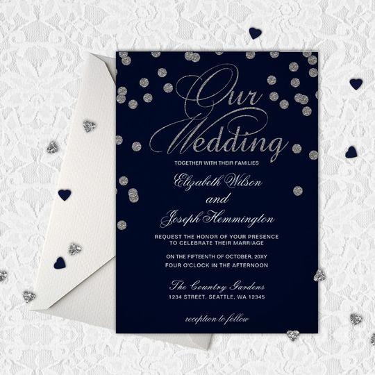 Navy Silver Glitter Confetti Wedding Invitations