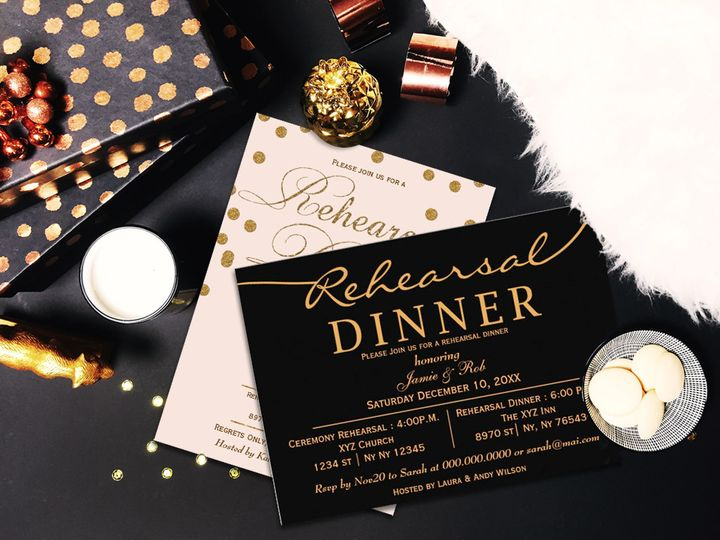 Elegant Rehearsal Dinner Invitations