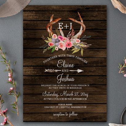 Blooming Antlers Boho Wedding Invitations