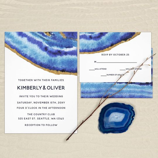 Gilt Blue Agate Wedding Invitations Suite