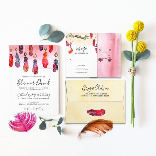 Whimsical Bohemian free spirit wedding invitations