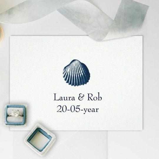 Classy Blue Seashell Beach Wedding Invitations