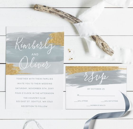 Misty Ocean Gilded Brush Strokes Wedding Suite