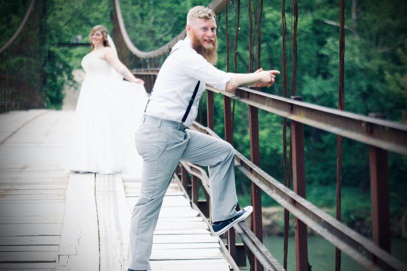 Bride in back of husband