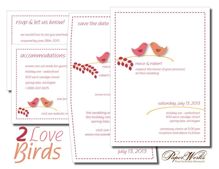 A modern twist on an old favorite, two love birds add a bit of whimsy to this wedding invitation.