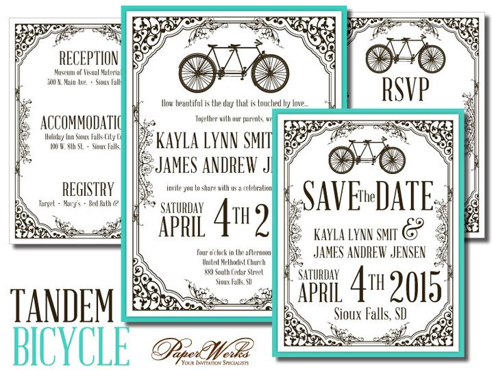 """A bicycle built for two"" is the perfect theme for this wedding invitation."