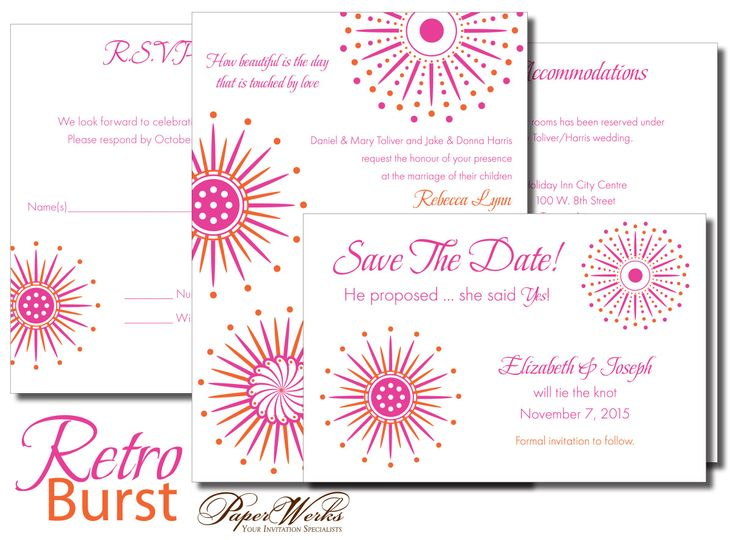 Colors are fused, twisted and spiraled together to create a fun design for this wedding invitation.