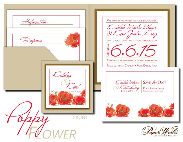 Watercolor poppy flowers adorn this square pocket-style wedding invitation. Personalized with your...