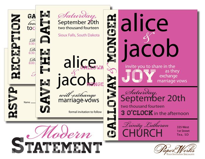 Bold colors and fonts come together to make a fun modern wedding invitation set.