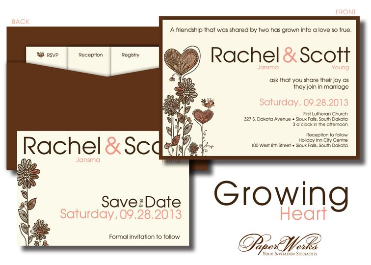 A cute back-pocket style invitation, this set keeps all of the information cards nestled together....