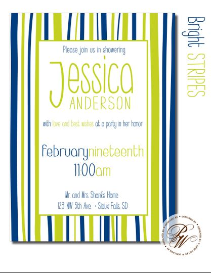 bridal shower invitation sioux falls bright stripes