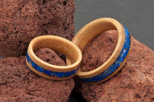 Cherry Wood Wedding Ring Set with Lapis Lazuli Crushed Stone Inlay