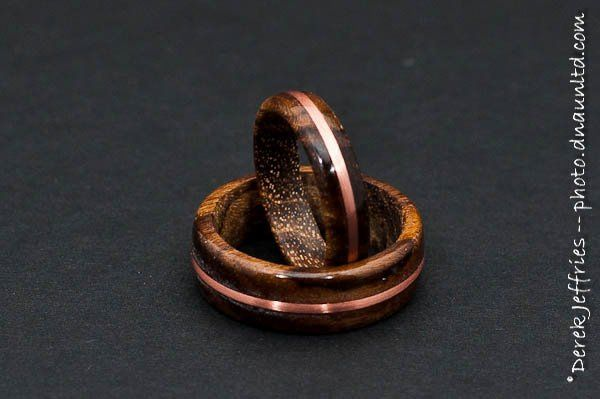 Teak Wood Wedding Ring Set with Copper Wire Inlay