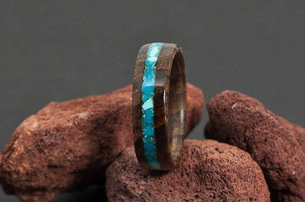 Teak Wood Ring with Turquoise Inlay