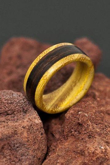 Osage Orange Wood Ring with Dark Wood Inlay