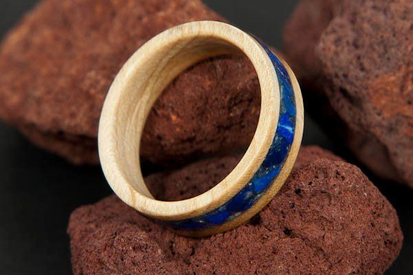 Maple Wood Ring with Lapis Lazuli Crushed Stone Inlay