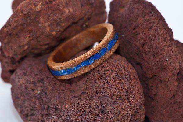 Lacewood Wood Ring with Lapis Lazuli Crushed Stone Inlay