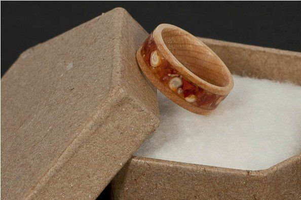 Maple Wood Ring with Crushed Red Pepper Inlay