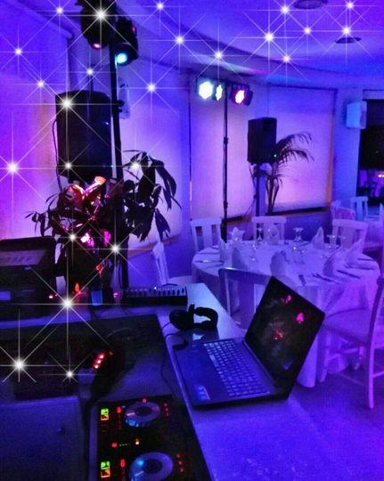 Santorini wedding lighting