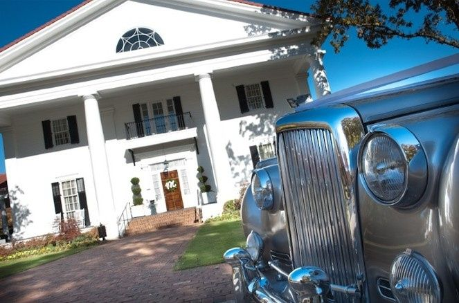Venue exterior and wedding car