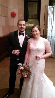 A very elegant couple, George and Virginia, married in an elegant reinvented bank in downtown...