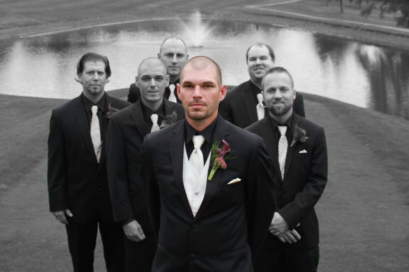 Golf course wedding. Black & White mixed with color photo