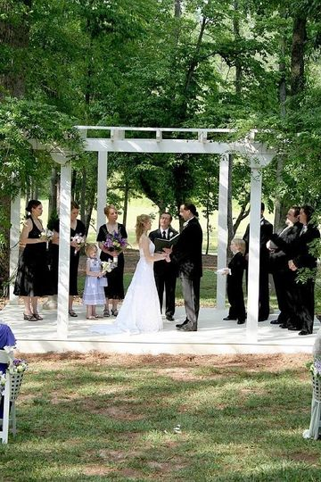 Under the wedding arch