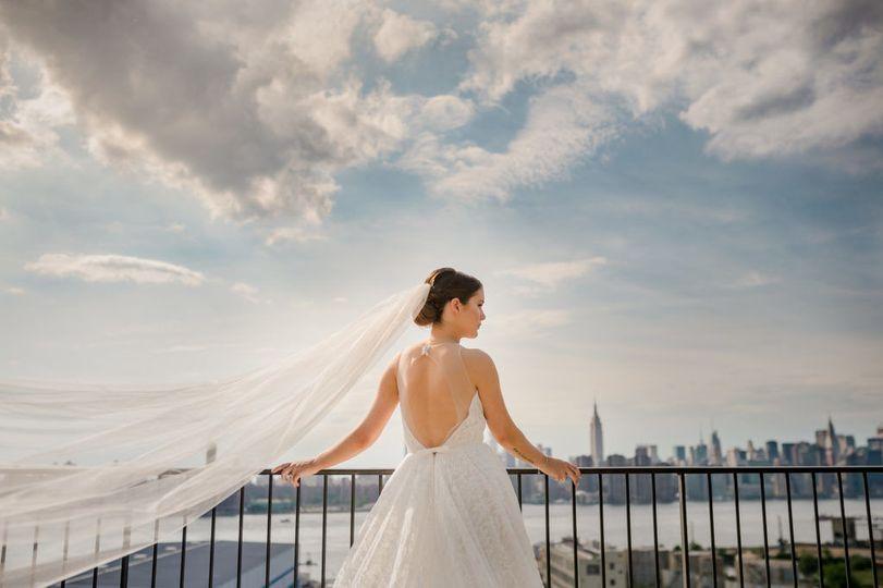 Bride looks onto nyc
