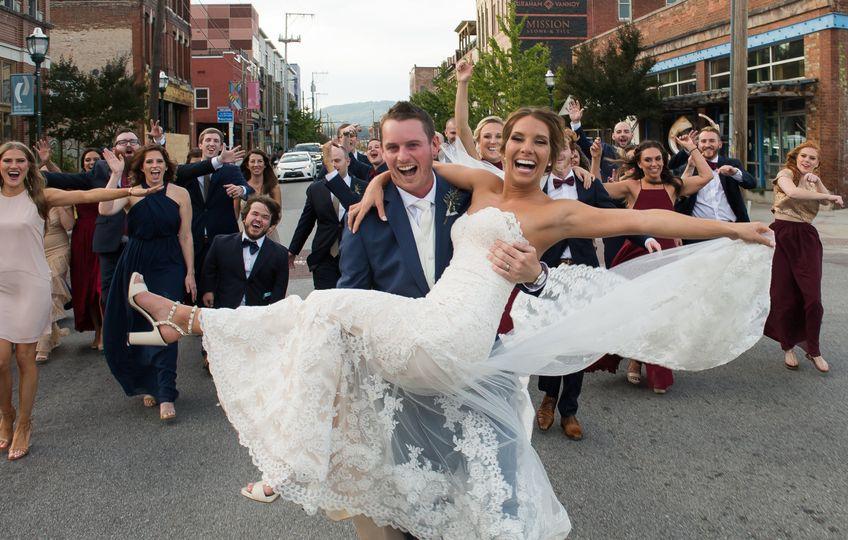 Fun shot of bridal party