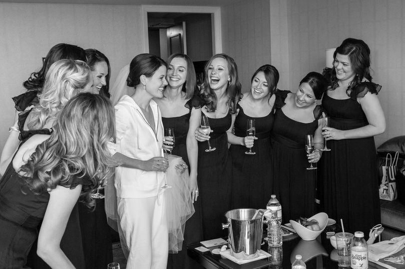 Bridesmaids sharing a toast